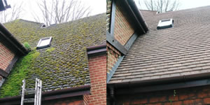 Roof cleaning before after Maidstone Kent